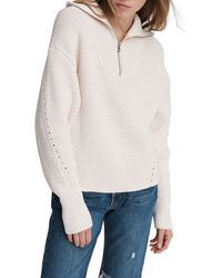 Rag & Bone Lena Half Zip Cotton Sweater Relaxed Fit Sweater - White