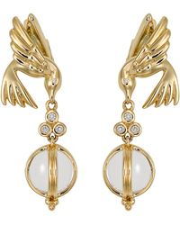Temple St. Clair - Temple St. Clair Crystal & Diamond Bird Drop Earrings - Lyst