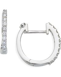 Roberto Coin - Small Diamond Hoop Earrings - Lyst