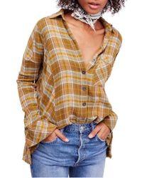 Free People - Juniper Ridge Plaid Herringbone Shirt - Lyst