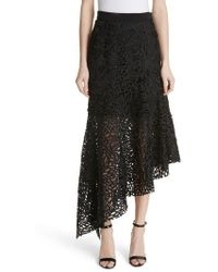 MILLY - Flounce Hem Lace Skirt - Lyst