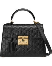 Gucci - Small Padlock Top Handle Signature Leather Bag - - Lyst