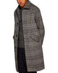 TOPMAN - Check Wool Overcoat - Lyst