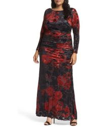 Adrianna Papell - Adriana Papell Burnout Velvet Gown - Lyst