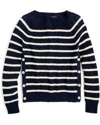 J.Crew - Vivian Stripe Crewneck Side Button Sweater - Lyst