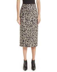 Max Mara - Thomas Leopard Jacquard Wool Skirt - Lyst