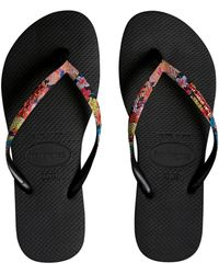 Havaianas Slim Tropical Strap Flip Flop - Black
