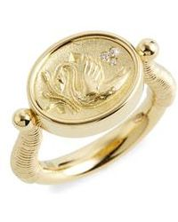Temple St. Clair - Temple St. Clair Object Trouve Swan Coin Diamond Ring - Lyst