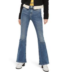 TOPSHOP Jamie High Waist Flare Leg Jeans - Blue