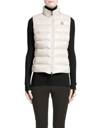 Moncler Ghany Water Resistant Shiny Nylon Down Puffer Vest - Natural