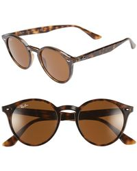 Ray-Ban - Highstreet 49mm Round Sunglasses - Dark Havana - Lyst