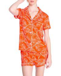 Pj Salvage Pj Salavage Leaf Dreams Jersey Short Pyjamas - Orange