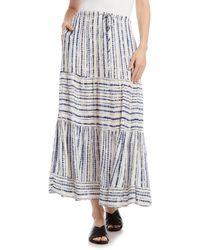 Karen Kane Tie Dye Stripe Tiered Maxi Skirt - Multicolor