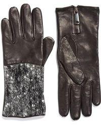 Fabiana Filippi - Pebble Tweed & Leather Gloves - Lyst