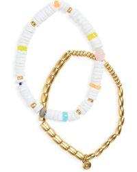 Madewell 2-pack Shell Stretch Beaded Bracelets - Metallic