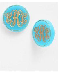 Moon & Lola | 'chelsea' Medium Personalized Monogram Stud Earrings (nordstrom Exclusive) | Lyst