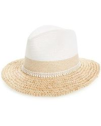 Caslon | Caslon Crochet Trim Straw Panama Hat | Lyst
