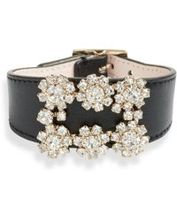 Roger Vivier Flower Strass Buckle Leather Bracelet - Black