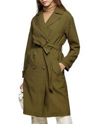 TOPSHOP Sophia Trench Coat - Green
