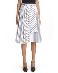 Jason Wu - Dobby Stripe Cotton Poplin A-line Skirt - Lyst