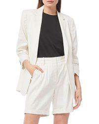 FRAME Pleat Sleeve Linen Blend Boyfriend Blazer - White
