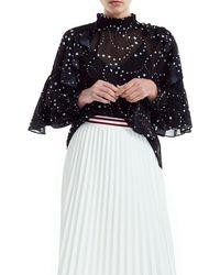Maje Letro Sheer Star - Print Blouse - Black