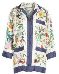Gucci - Floral Print Silk Foulard Shirt - Lyst