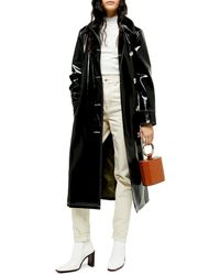 TOPSHOP Black Contrast Faux Leather Vinyl Trench