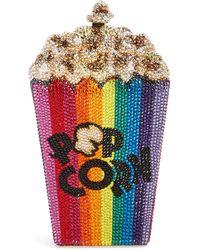 Judith Leiber Popcorn Crystal Embellished Clutch - Metallic