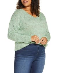 BP. Cozy V-neck Sweater - Green