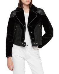 AllSaints - Zola Leather & Faux Fur Jacket - Lyst