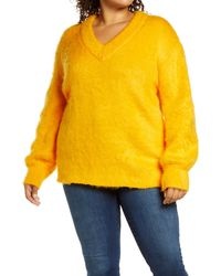 BP. Fuzzy V-neck Tunic Sweater - Yellow