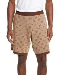 Gucci Brown Knit GG Shorts - Natural
