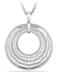 David Yurman Stax Large Pendant Necklace With Diamonds - Metallic