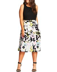 City Chic - Art Darling Fit & Flare Dress - Lyst