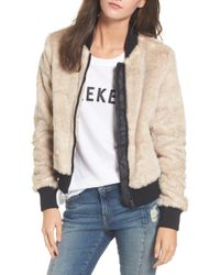 6e83a859c Faux Fur Bomber Jacket - Natural