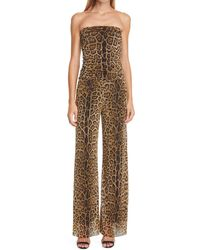 Fuzzi Leopard Print Strapless Mesh Jumpsuit - Multicolor