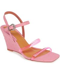 Jaggar Transparent Strap Wedge Sandal - Pink