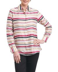 Foxcroft - Addison Stripe Print Sateen Shirt - Lyst
