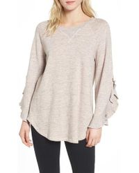 Ella Moss - Ruffle Split Sleeve Cotton Sweatshirt - Lyst