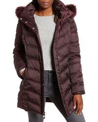 Kenneth Cole - Faux Fur Trim Puffer Jacket - Lyst