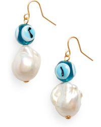 Tory Burch - Evil Eye & Pearl Drop Earrings - Lyst