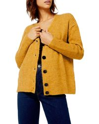 TOPSHOP Button Front Cardigan - Yellow