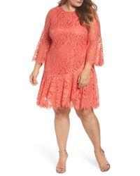 Eliza J | Bell Sleeve Lace Shift Dress | Lyst