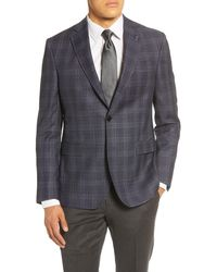 Ted Baker Jay Trim Fit Plaid Wool Sport Coat - Blue