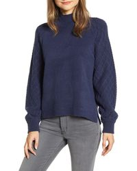 Caslon Caslon Mix Stitch Turtleneck Sweater - Blue