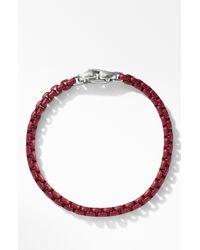 David Yurman Box Chain Bracelet In Burgundy - Red