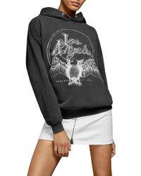 Anine Bing Los Angeles Eagle Graphic Cotton Hoodie - Black