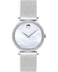 Movado - Museum Pave Diamond Stainless Steel Mesh Bracelet Watch - Lyst