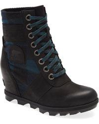 Sorel Lexie Waterproof Leather Wedge Boot - Black